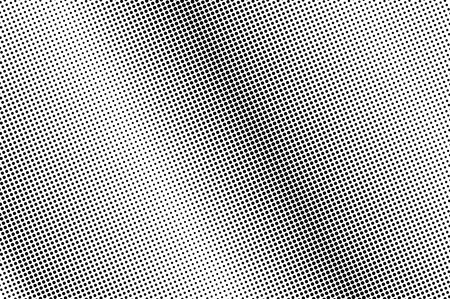 Black and white halftone vector background. Diagonal dot gradient. Rough dotwork surface. Frequent dotted halftone. Retro halftone overlay. Vintage distressed effect. Monochrome perforated texture
