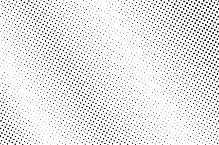 Black and white halftone vector background. Diagonal dot gradient. Rough dotwork surface. Faded dotted halftone. Retro halftone overlay. Vintage distressed effect. Monochrome perforated texture