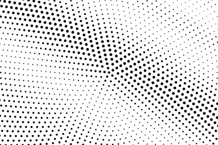 Black and white halftone vector background. Diagonal gradient on rough dotwork texture. Grunge dotted halftone. Retro halftone overlay. Vintage distressed effect. Monochrome perforated texture