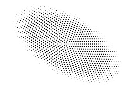 Black and white halftone vector background. Centered gradient on oval dotwork texture. Round dotted halftone. Retro halftone overlay. Vintage distressed effect. Monochrome perforated texture