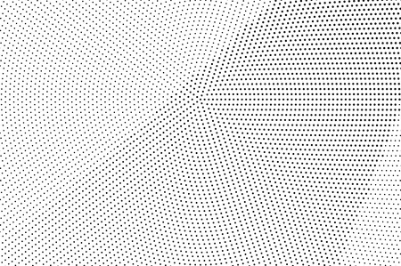 Black and white halftone vector background. Diagonal gradient on rough dotwork texture. Distressed dotted halftone. Retro halftone overlay. Vintage distressed effect. Monochrome perforated texture