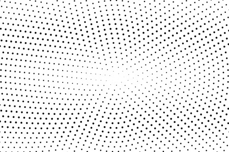 Black and white halftone vector background. Horizontal gradient on sparse dotwork texture. Round dotted halftone. Retro halftone overlay. Vintage distressed effect. Monochrome perforated texture