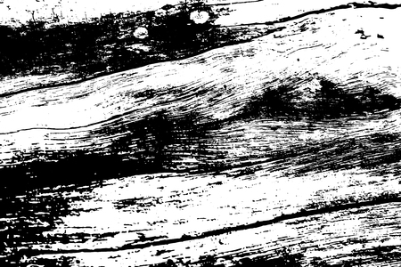 Black and white weathered wood texture. Old timber surface traced vector background. Tree trunk natural texture. Lumber monochrome ornament. Grungy distressed foreground. Noisy vintage effect overlay Vector Illustration