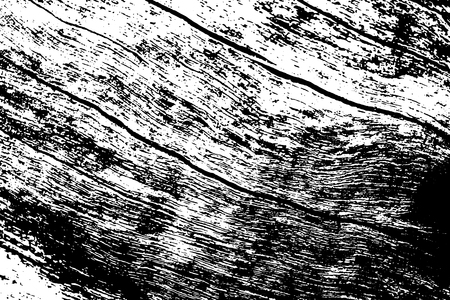 Black and white wooden crack texture. Rustic timber surface traced vector background. Tree trunk natural texture. Lumber monochrome ornament. Grungy distressed foreground. Noisy vintage effect overlay Illustration