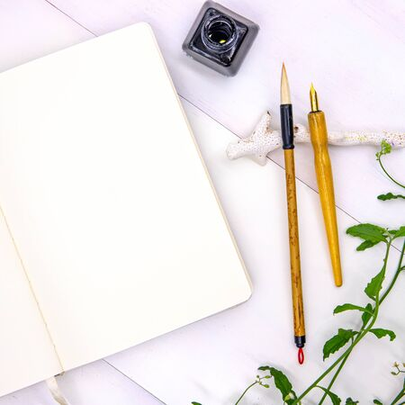 Blank page of sketchbook with calligraphy tools and green foliage.