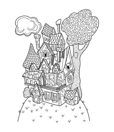 Black and white house coloring page. Иллюстрация