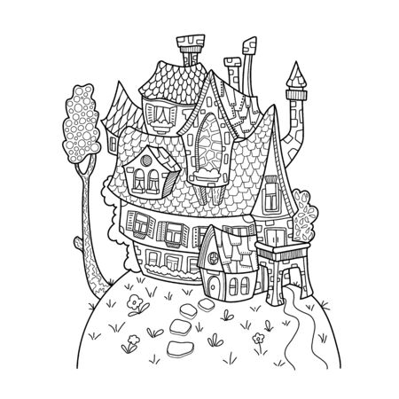 Cute house and tree black and white illustration for adult coloring. Illustration