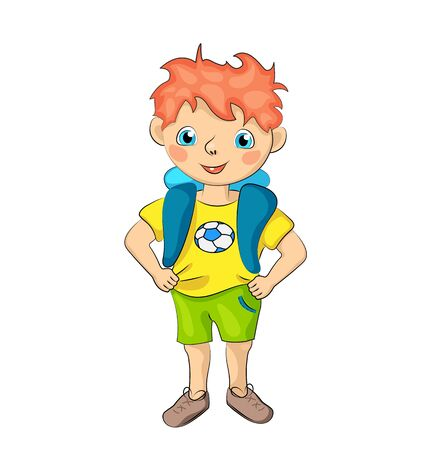 Red hair boy with happy smile and football t-shirt.r Иллюстрация