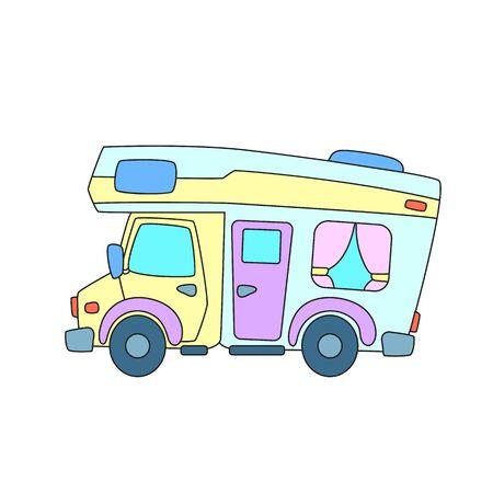 RV car or camper colorful illustration on white background.