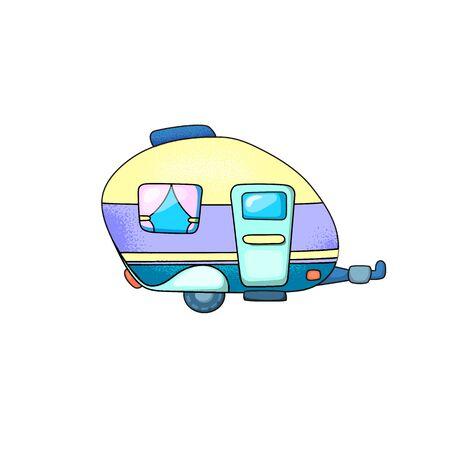 Caravan trailer with door and window. Illustration