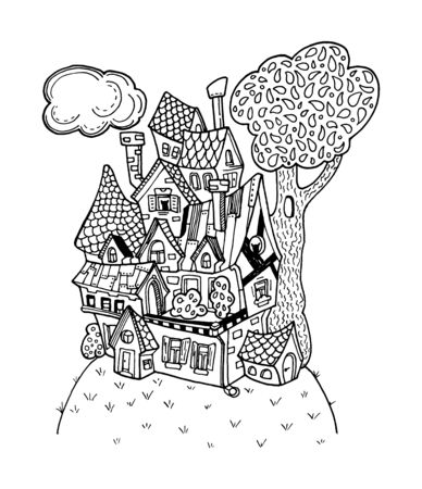 Fantastic house outlined illustration. Black and white cozy home for coloring. Иллюстрация