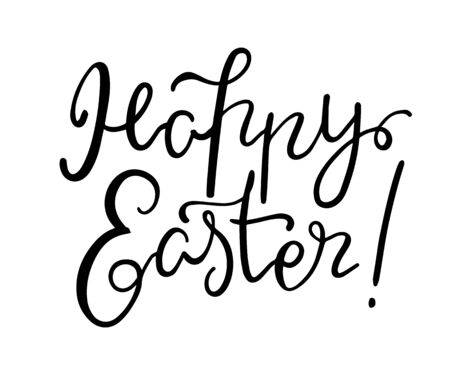 Happy Easter lettering on white background. Иллюстрация
