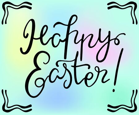Happy Easter hand drawn lettering, illustration on pastel color background.