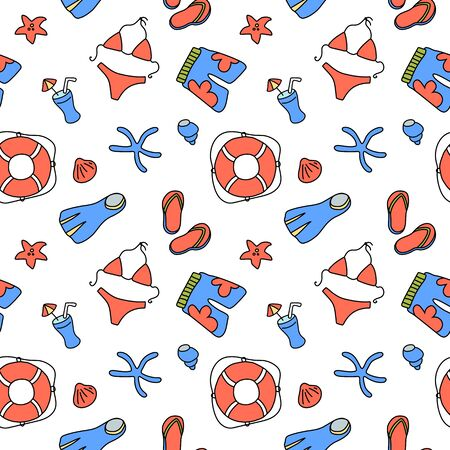 Swimwear and lifebuoy seamless pattern on white background. Illustration