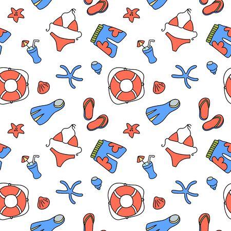 Swimwear and lifebuoy seamless pattern on white background. Иллюстрация