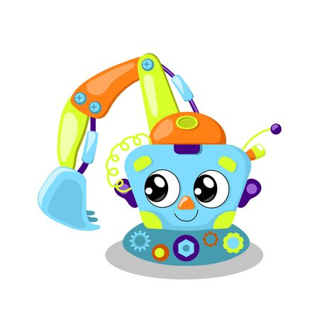 Cute robot character illustration on white background.
