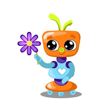 Cute robot with flower illustration on white background. Robot with heart in love. Feminine robot girl. Artificial intelligence concept for children. Friendly robot clipart. Fantastic kid toy Иллюстрация