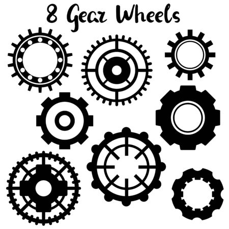 Black gear wheel icon set on white background. Black and white gear wheel.