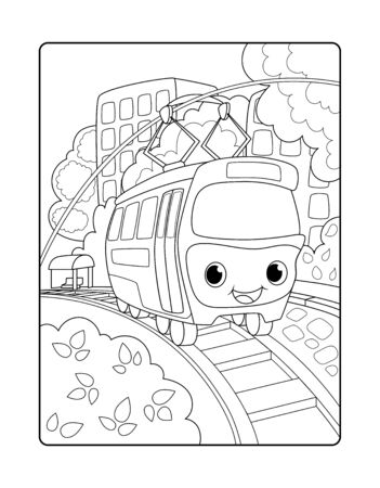 Cute tram in urban landscape. Urban landscape vertical vector coloring page for children. Smiling trolley wagon. Child coloring book page. Black outline drawing with railway. Urban transport for kids Ilustração