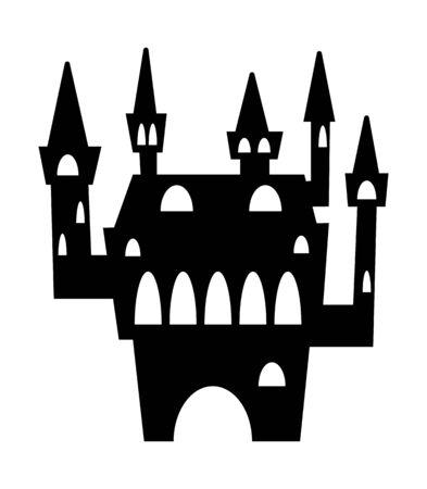 Halloween castle black silhouette.