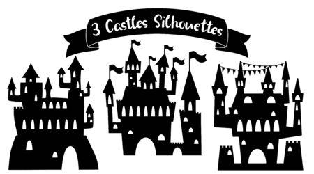 Medieval castle black silhouette.