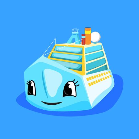 Cute ferry or cruise liner with eyes and smile. Marine transport cartoon illustration.