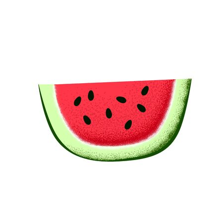Watermelon slice with seeds. Illustration