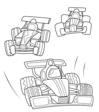 Race cars coloring page, black line illustration on white background.