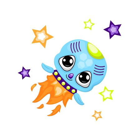 Cute rocket character illustration on white background. Иллюстрация
