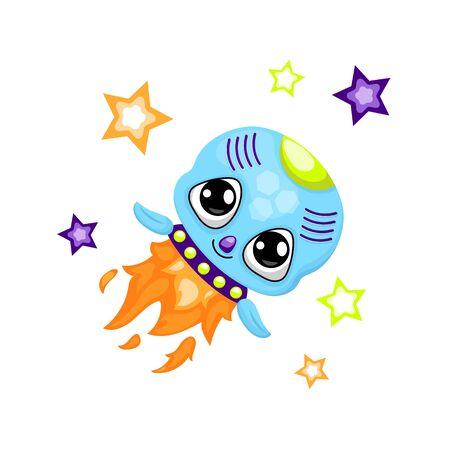 Cute rocket character illustration on white background. Illustration
