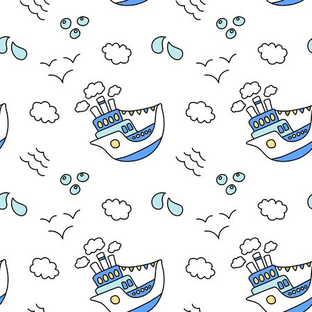Cute ship and cloud seamless pattern on white background. Blue and white nautical print. Marine travel wallpaper. Kid birthday wrapping paper. Summer activity doodle pattern. Marine theme pattern tile
