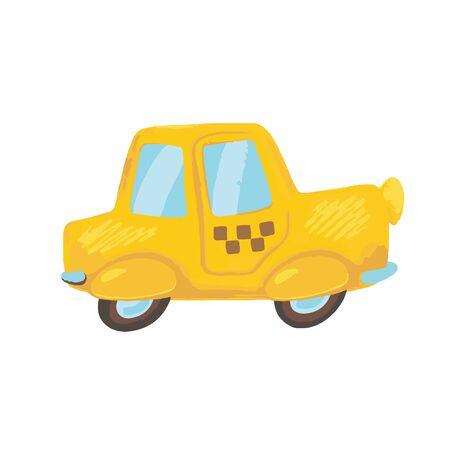 Cute cartoon yellow taxi car. Illustration