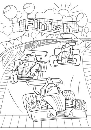 Car race coloring page.