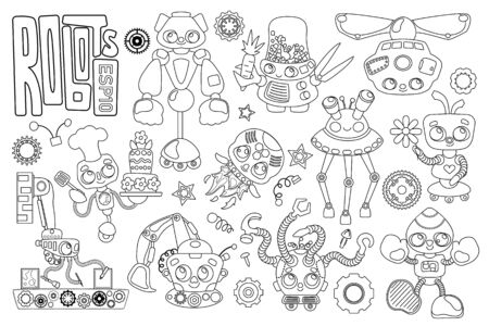Cute robot characters black and white set on white background. Illustration