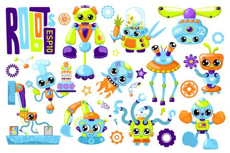 Cute robot characters colorful set on white background.
