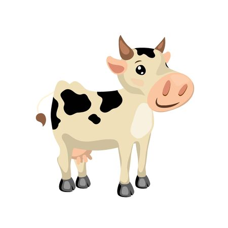 White cow with black spots. Illustration