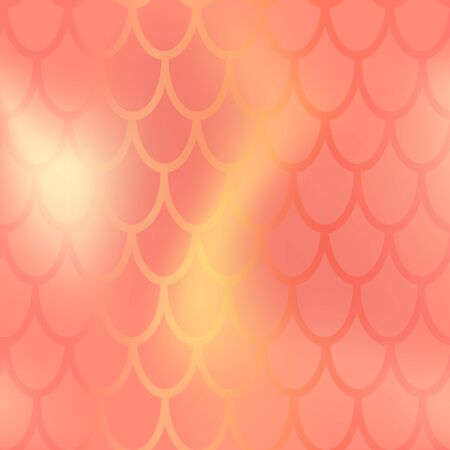 Mermaid or fish scale seamless pattern. Red yellow mermaid skin background. Illustration