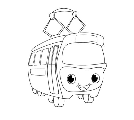 Cute tram illustration. Black line transport isolated on white background. Smiling trolley wagon icon. Children coloring book page. Black outline drawing.