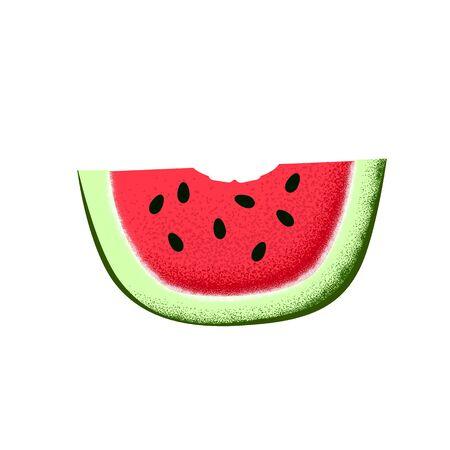 Watermelon slice with bite mark.
