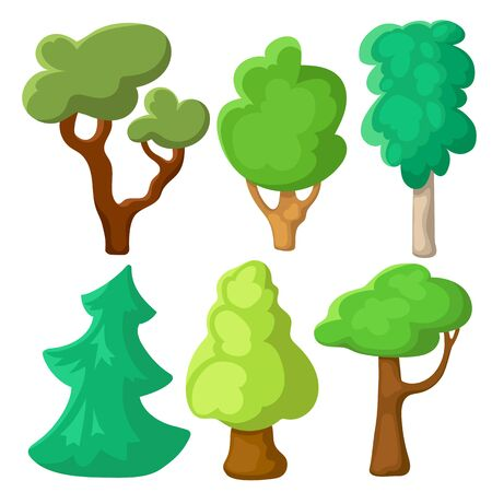 Green tree set in cartoon style. Summer tree clip art on white background. Natural clip art with summer landscape elements.