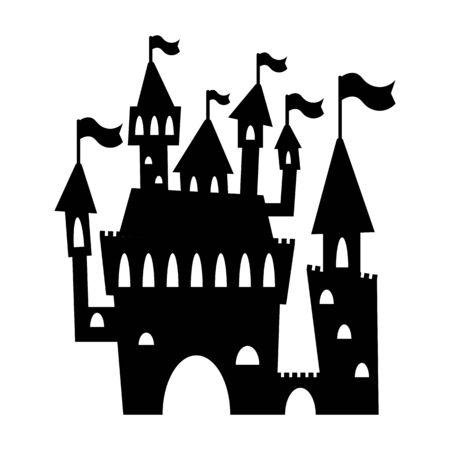Romantic castle black silhouette.