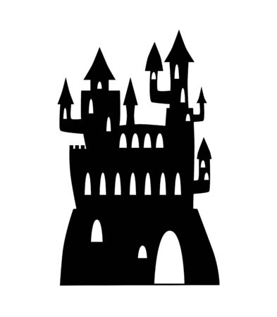 Fantastic castle black silhouette.