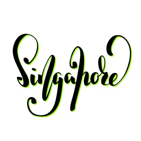 Singapore city name handwritten lettering. Singapore calligraphic sign on white background.