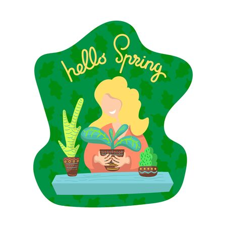 Hello Spring illustration with woman and plants.