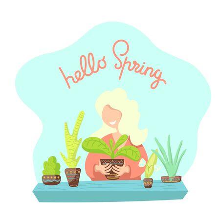 Woman and houseplants illustration.