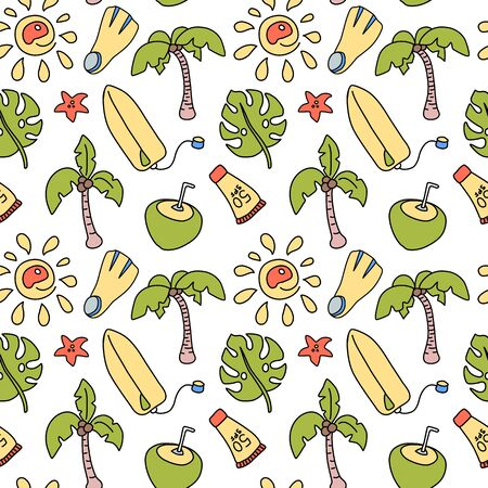 Coconut palm and surf board seamless pattern on white background.