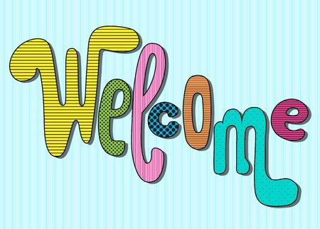 Welcome lettering with colorful textures on blue background.