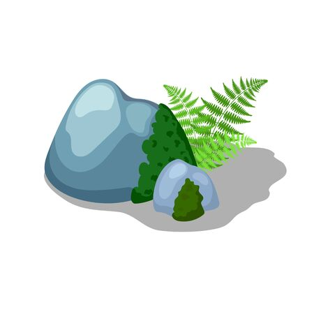 Grey mossy stone and fern leaf, vector illustration on white background. Summer landscape element. Cute garden or park landscape creator. Cartoon rock with moss and foliage. Forest detail isolated