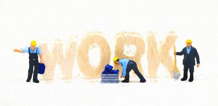 Work word and small workers digital illustration. Blue collar work concept scene. Small figurine workers and standing letter inscription. Hard work abstraction. Low-qualified job