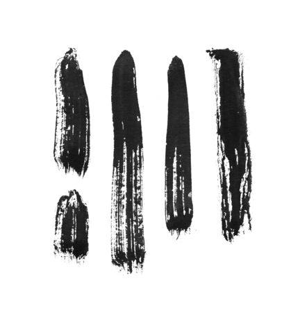 Grungy ink brush stroke on white background. Freehand ink line hand drawn illustration. Ink line blot. Bristle brush for hand-drawn lettering or chinese calligraphy. Black ink drawing tool isolated